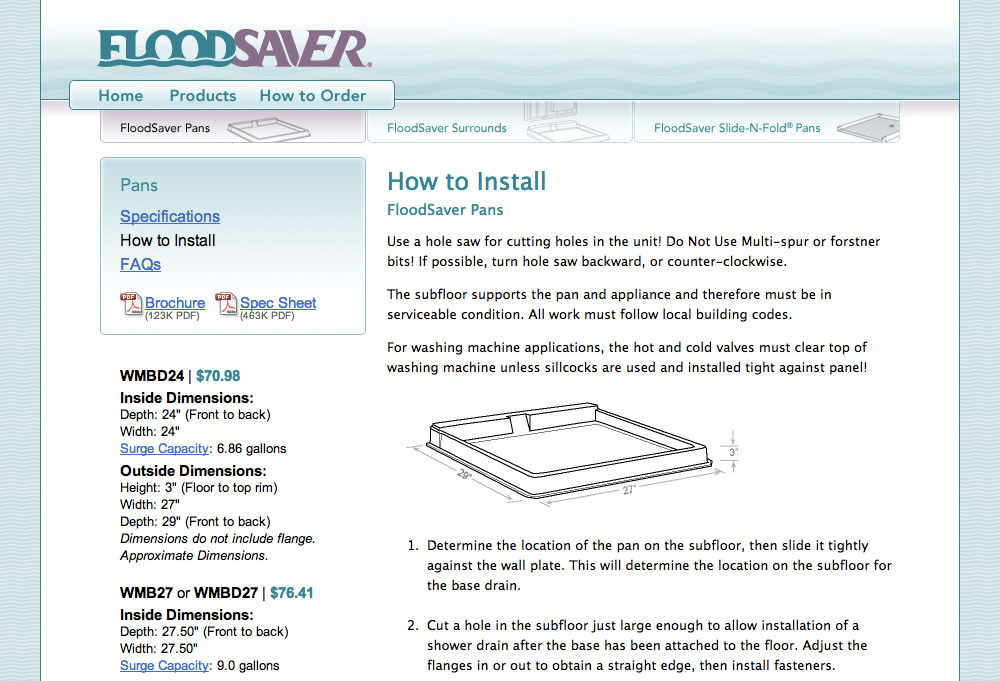 Flood Saver Product Detail Page
