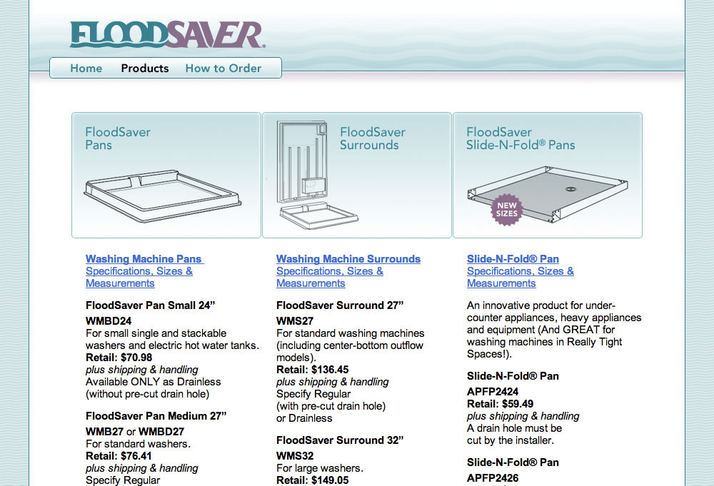 Flood Saver Products Page